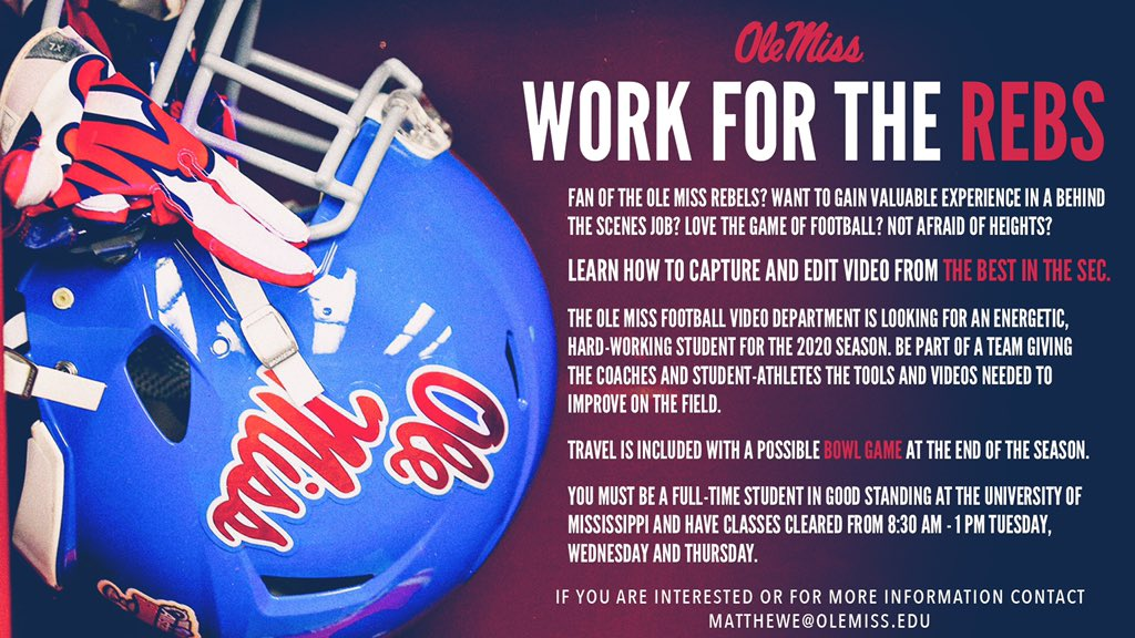Ole Miss Football Video Assistant Needed